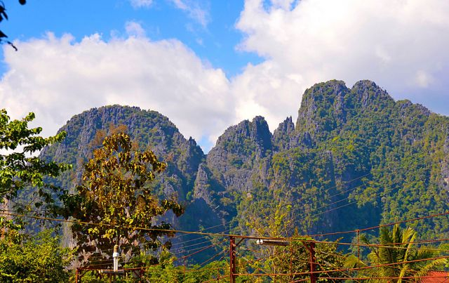 Vang Vieng is surrounded by peaks like these
